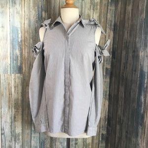 ALLSAINTS pinstriped cutout shoulder Evelyn shirt